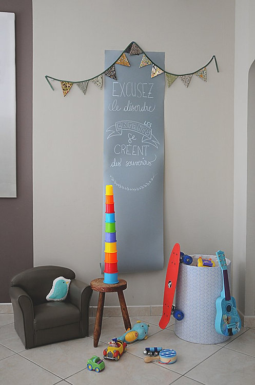 Grey Chalk Board Table Runner