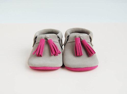 Grey & Pink - Crib Moccs (Suede)