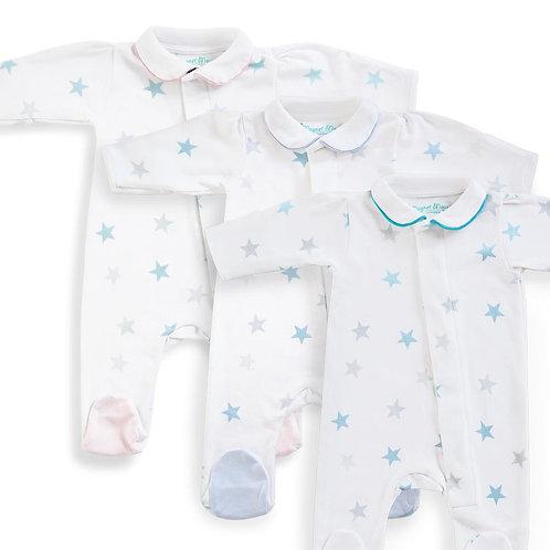 Teal Stars Babygrow