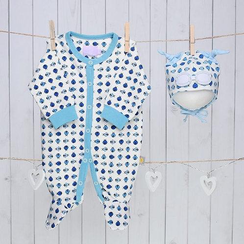 Blue Ladybug Baby Gift Set