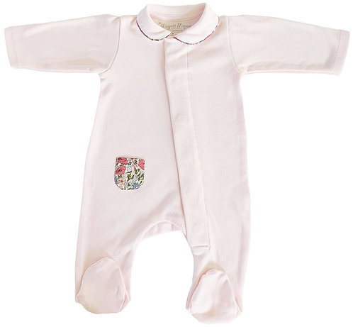 Pink Cotton Onesie with Blue & Pink Liberty Floral Detail