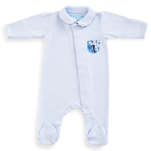 Blue Cotton Onesie with Liberty Carnival Pocket