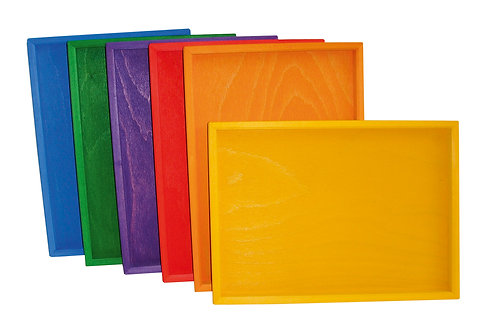 Bauspiel | Colored Wooden Trays 6 pcs