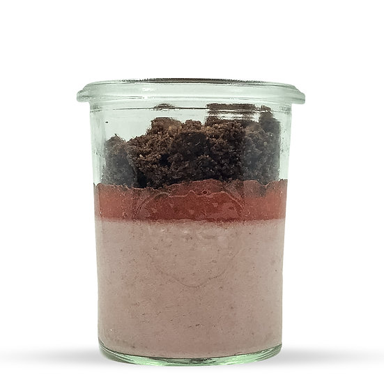 Mousse framboise et streusel cacao (dont 1 € de consigne)