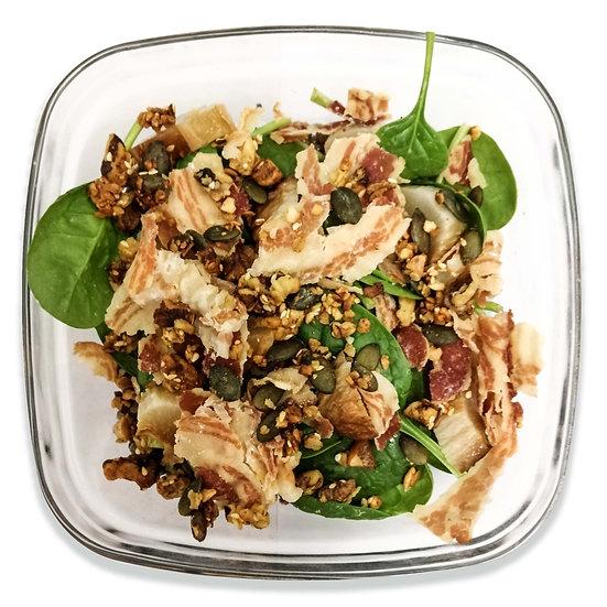 Grande salade de lentilles à la pancetta, légumes et granola salé (dont 2,5€ de