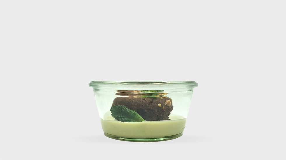 Tarte caprese et crème anglaise à la menthe (dont 1 € de consigne)