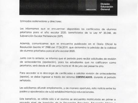 Certificados de alumnos(as) prioritarios(as)