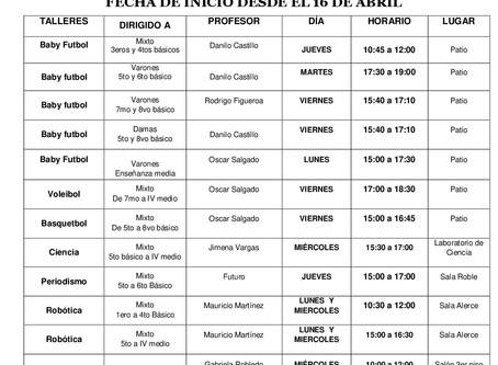 TALLERES EXTRA PROGRAMÁTICOS 2018