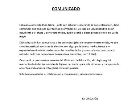 Comunicado Caso Covid