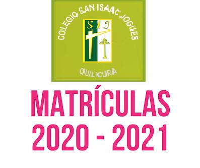 MATRÍCULAS AÑO 2021 PARA 7° Y 8° BÁSICOS 2020