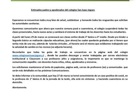 Carta apoderados y apoderadas Colegio San Isaac Jogues.