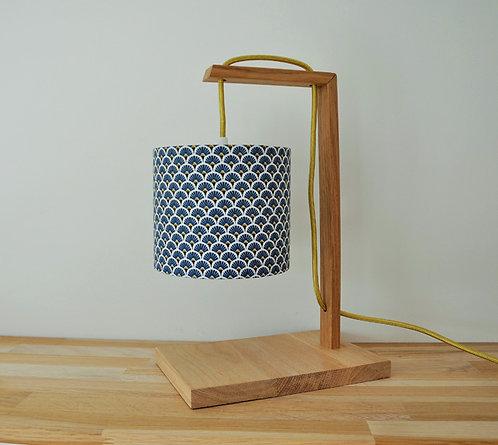 Lampe chêne éventail bleu doré
