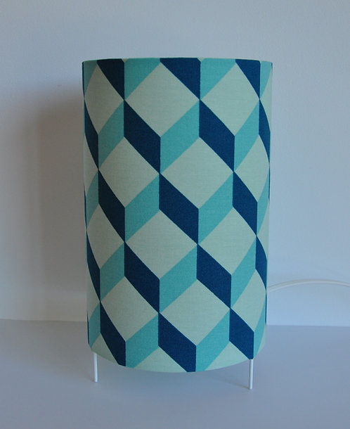 Lampe tube cube bleu canard