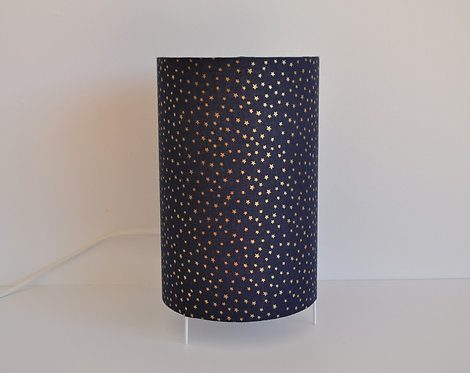 Lampe tube bleu marine étoiles dorées