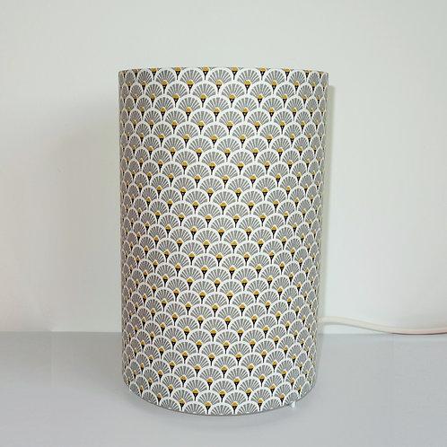 Lampe tube éventail gris et or