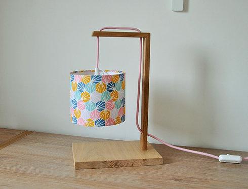 Lampe chêne coquillage multicolore