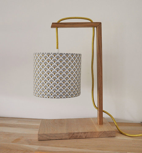 Lampe chêne éventail gris doré