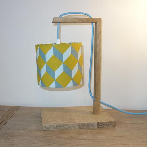 Lampe chêne cube moutarde bleu gris