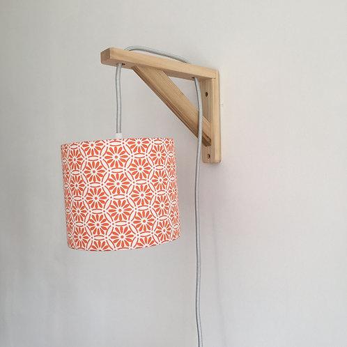 Lampe équerre rosace orange