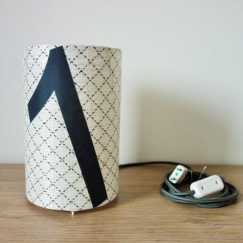Lampe tube en voile de bateau recyclée - chiffre 1 gris