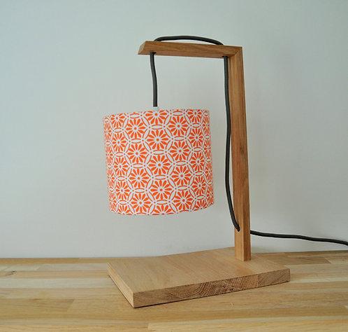 Lampe chêne rosace orange