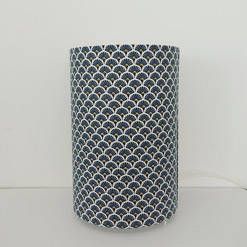 Lampe tube éventail bleu marine et or