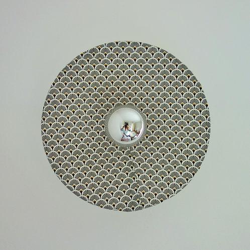 Applique murale ronde eventail gris et or