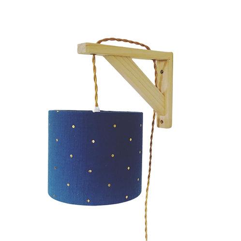 Lampe équerre double gaze bleu à pois doré