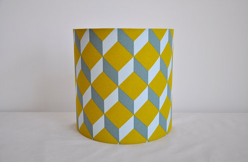 Applique Cube moutarde bleu gris