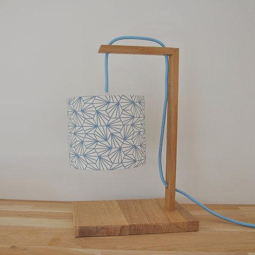 Lampe chêne Coquillage bleu