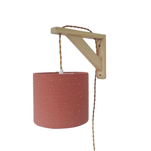 Lampe équerre double gaze terracotta à pois doré