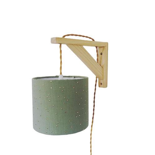 Lampe équerre double gaze vert sauge à pois doré
