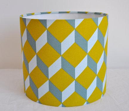 Abat-jour / Suspension Cube moutarde bleu gris