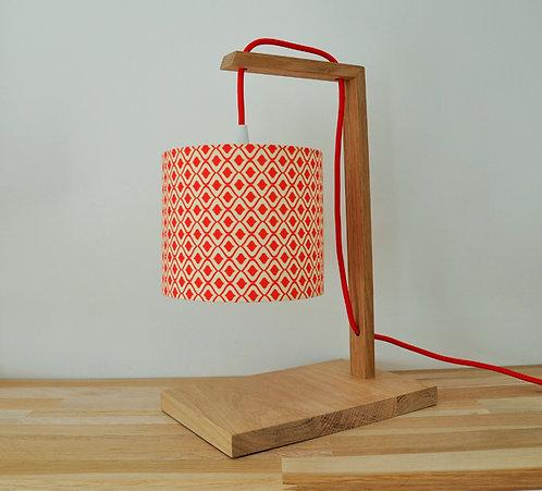 Lampe chêne retro rouge