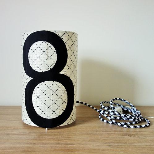 Lampe tube en voile de bateau recyclée - chiffre 8 noir