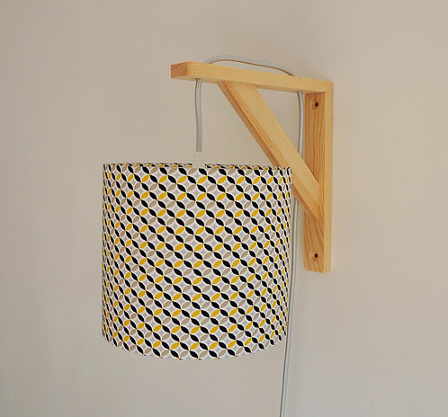 Lampe équerre Arrondi de losange noir jaune et beige