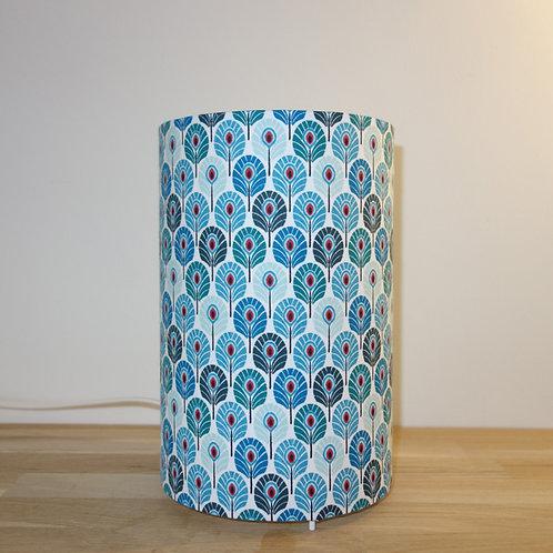 Lampe tube plumes de paon