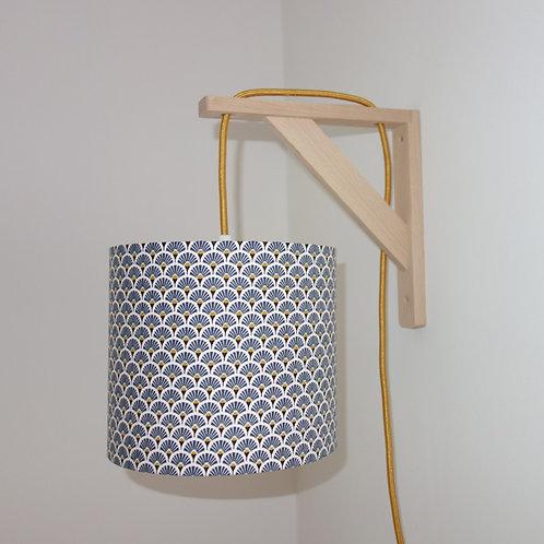 Lampe équerre Eventail bleu et or