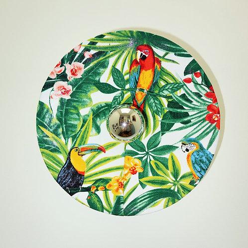 Applique murale ronde en tissu Exotique