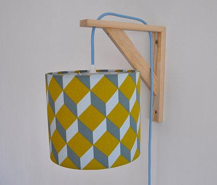 Lampe équerre Cube jaune moutarde bleu gris