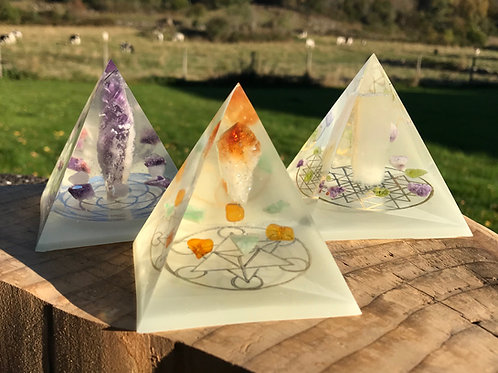 Auranite Crystal Grid Pyramids