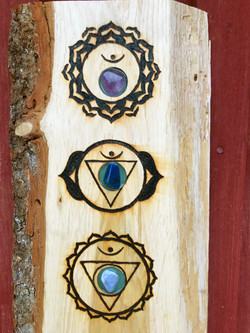 Crystal Chakra board on Oak (pic 2 closeup)