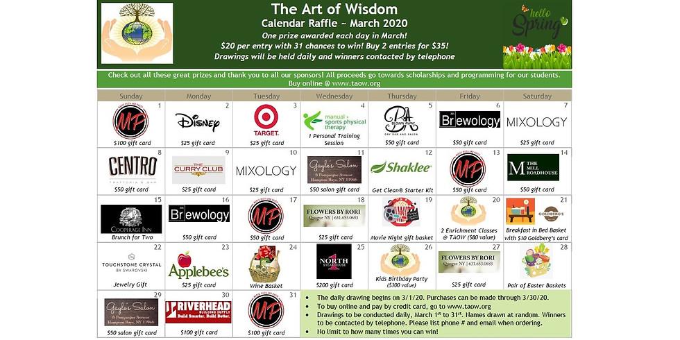 The Art of Wisdom March Calendar Fundraiser