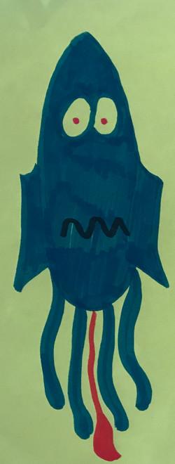 He's a worried squid drawing artwork art marker sketch cartoon comic kawaii cute