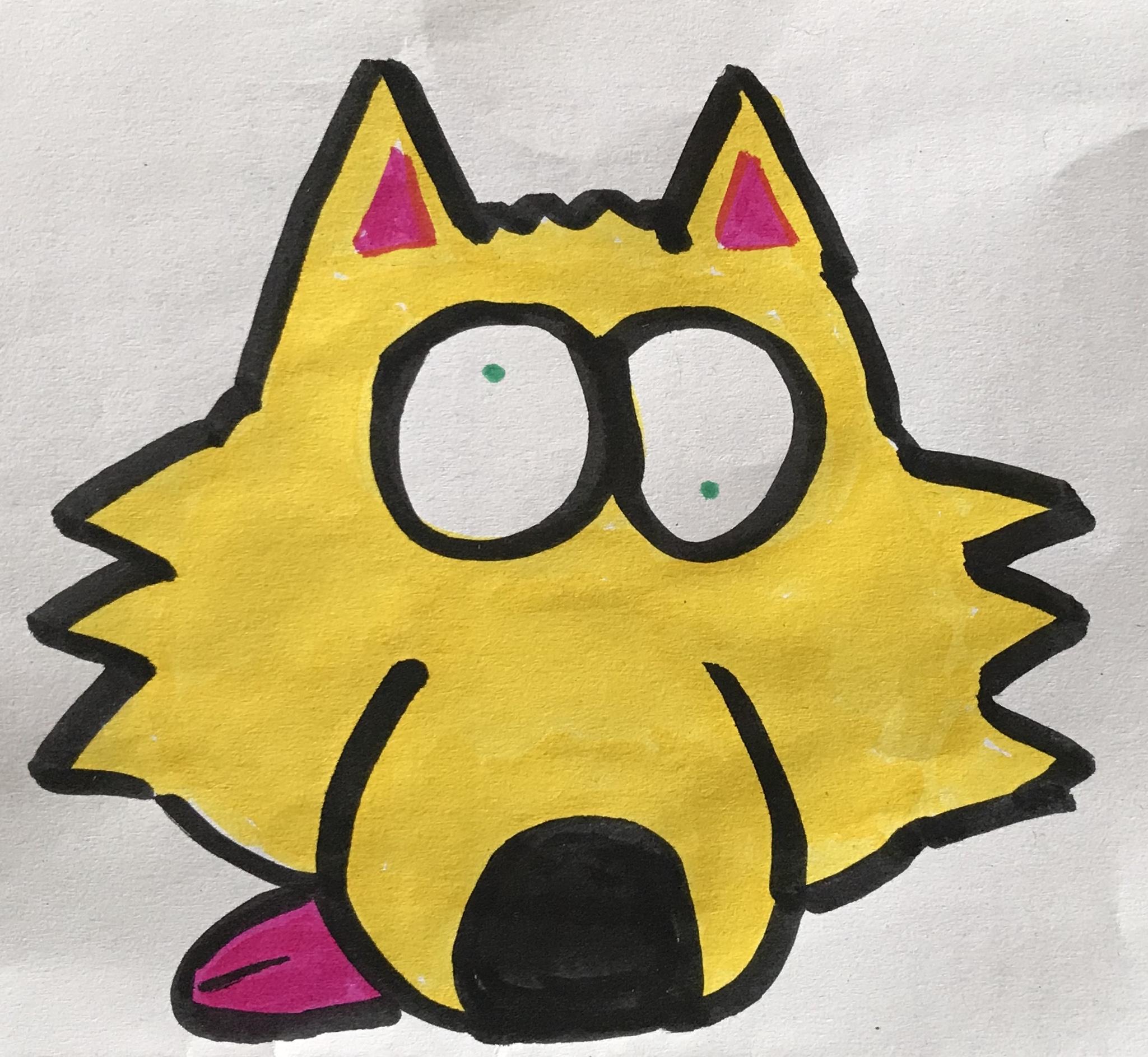 This wolf is a bit out of shape drawing artwork art marker sketch cartoon comic kawaii cute
