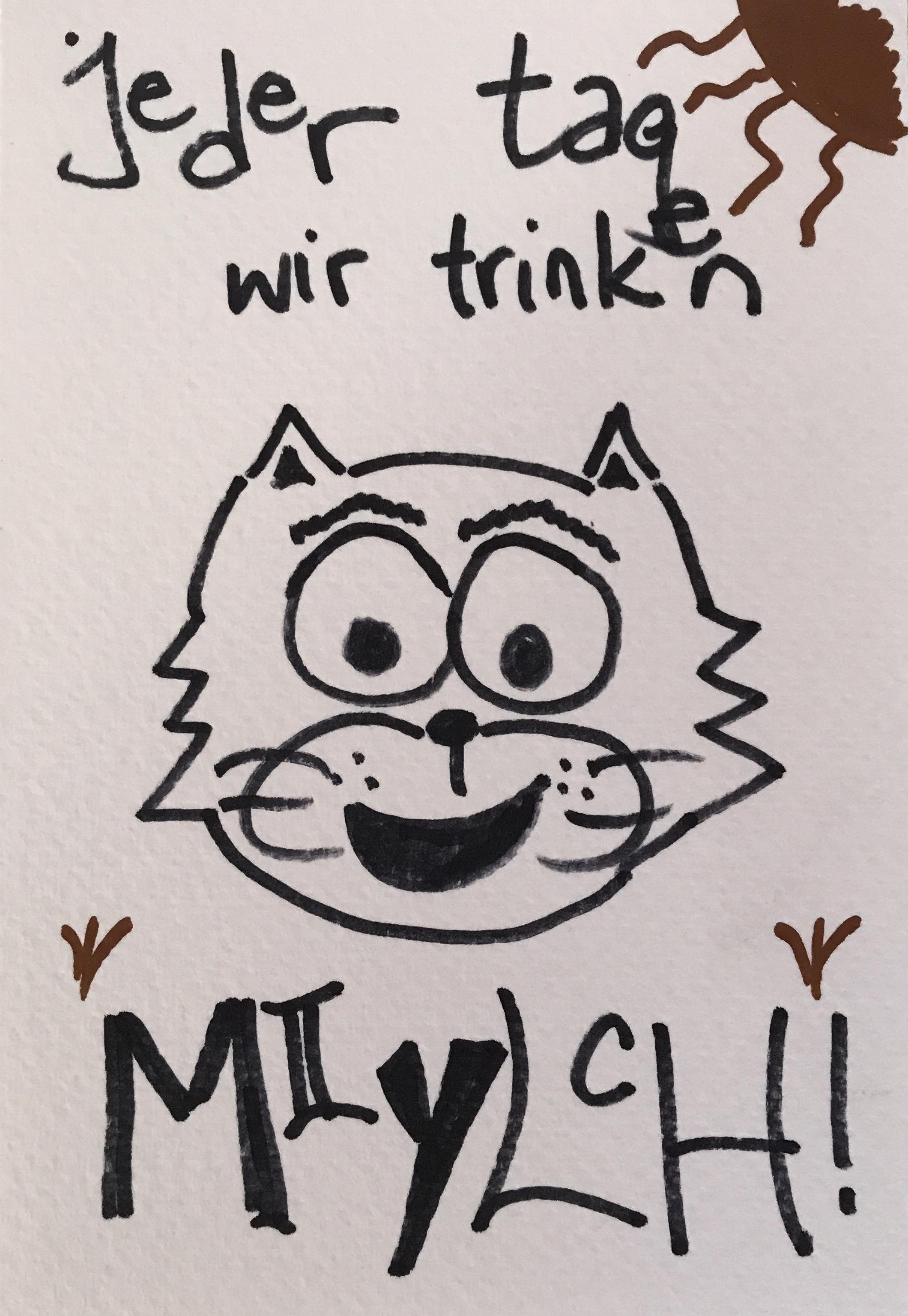 Jeden Tag trinken wir miylch かわいい ドイツ語 仔猫 描く コミックス comics kitten kätzchen drawing ink