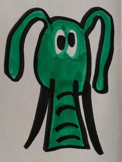 Confused elephant ink drawing marker sketch animal art artwork