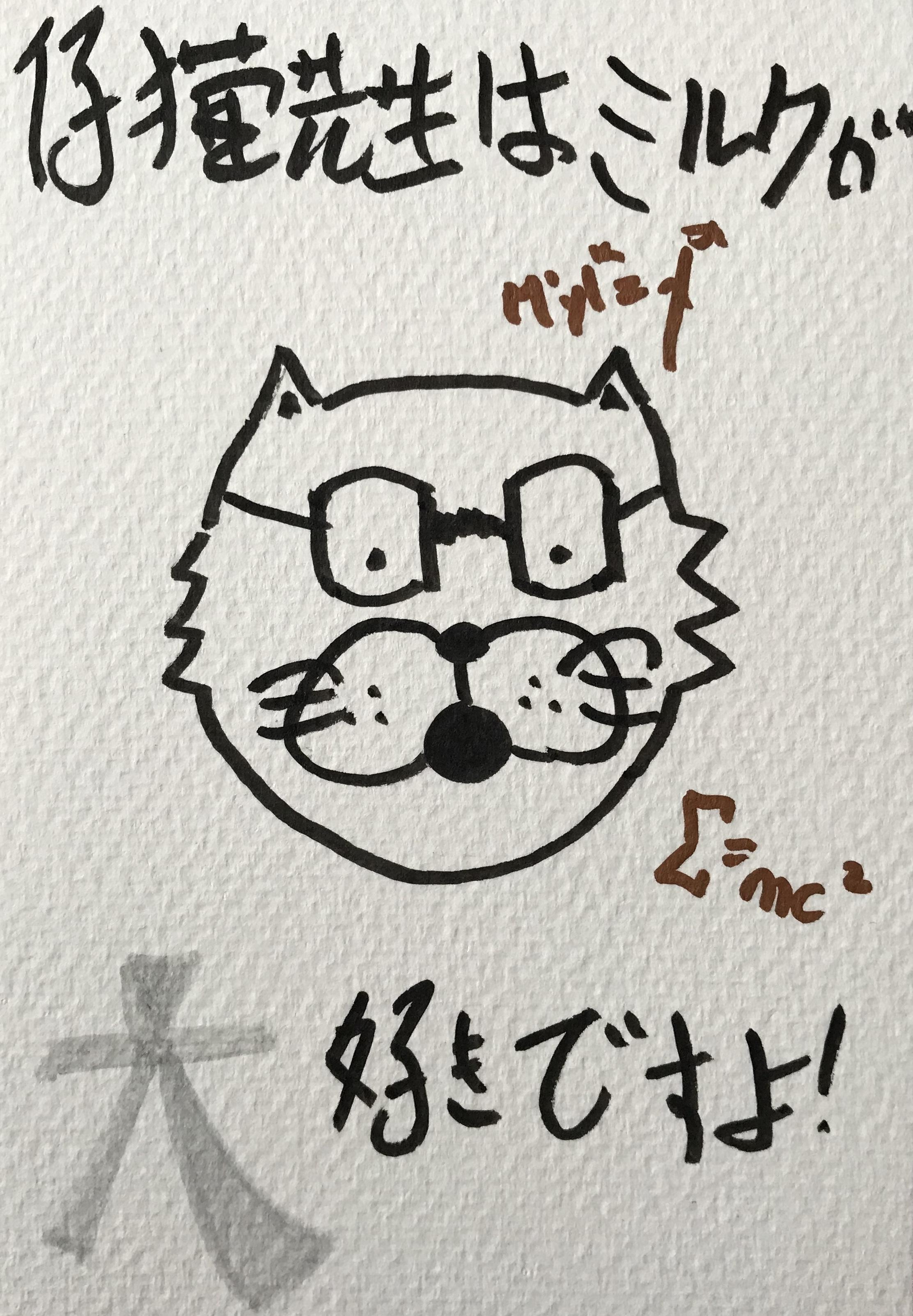 仔猫先生はミルクが大好きですよ miylk kitten art postcard marker calligraphy typography kawaii かわいい 描く コミックス ペン オタク