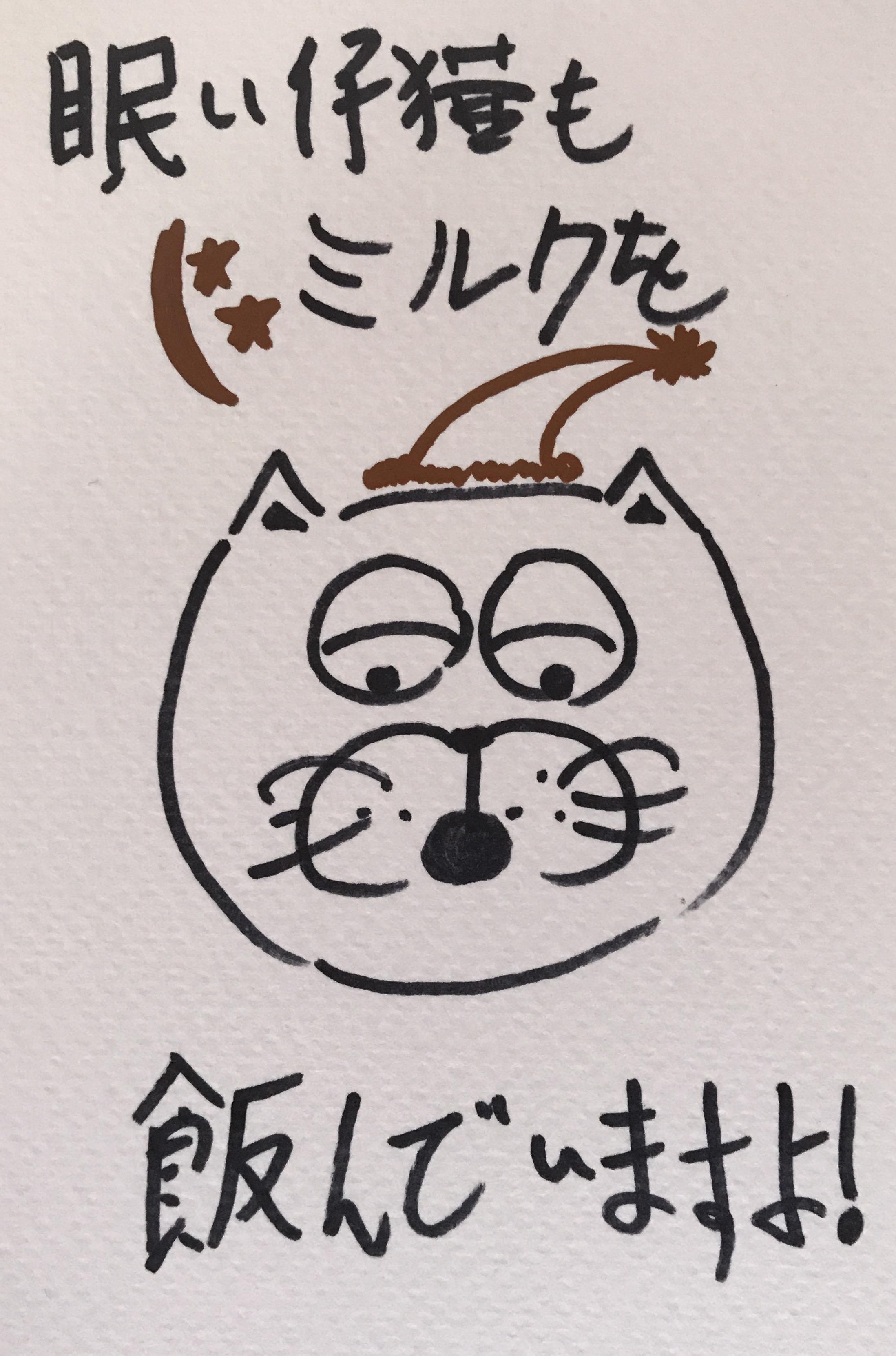 眠い仔猫さんは寝る前にミルクを飲んでいますよ かわいい ドイツ語 仔猫 描く コミックス comics kitten kätzchen drawing ink