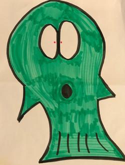 Green Fish drawing artwork art marker sketch cartoon comic kawaii cute